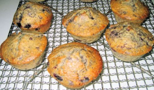 Blueberry muffins cooling as I wrote this post