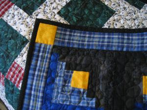Free motion quilting and mitred corner