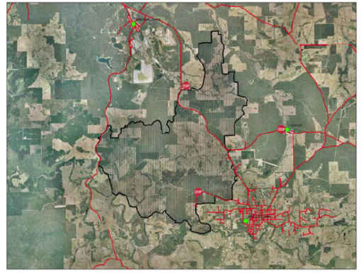 Extent of the Bridgetown bushfire