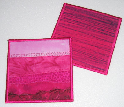 Front and back of the coasters -- yes, the back is pink too!