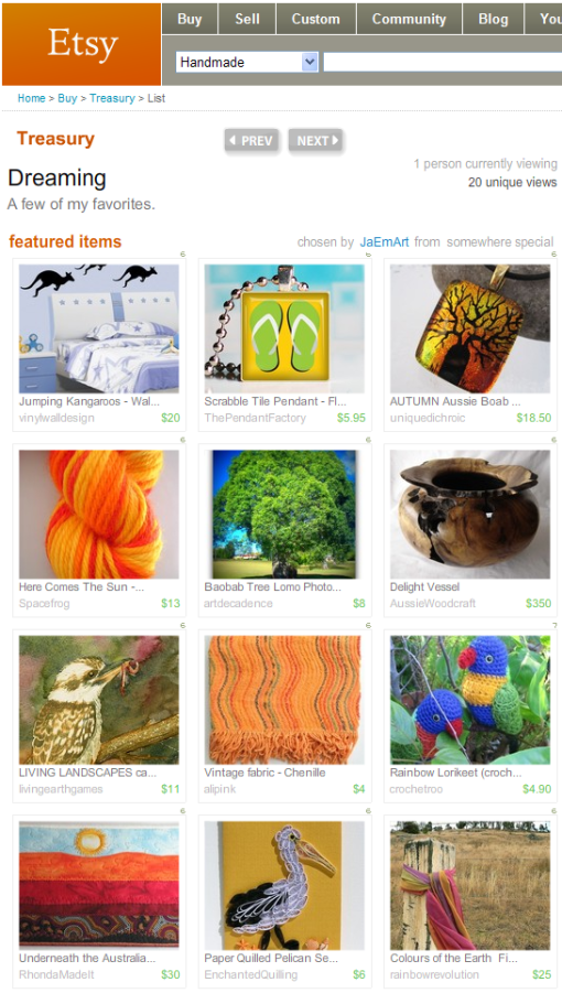 Featured in an Etsy Treasury -- Dreaming