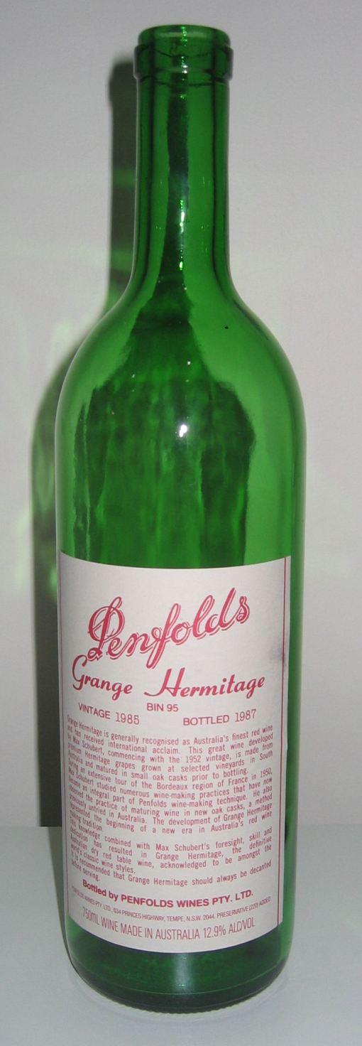 Penfolds Grange 1985 - empty!