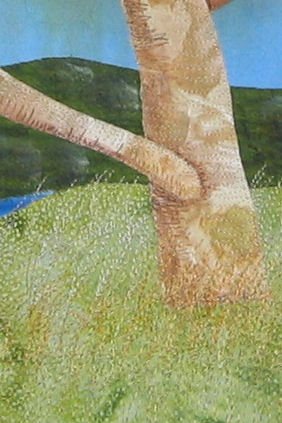 Stitching detail - grass and trunk