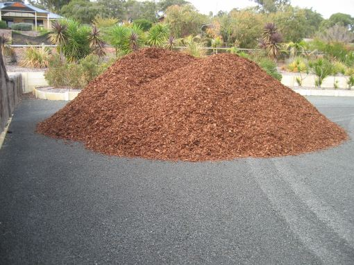 Mulch at the front of the block -- first load