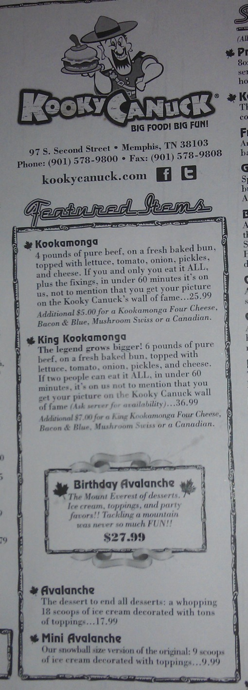 Kooky Canucks is famous for its 'challenging' meals