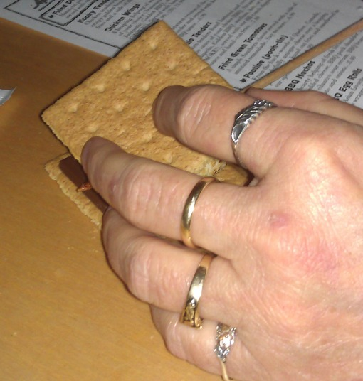 Place the other cracker over the top and carefully pull out the wooden stick