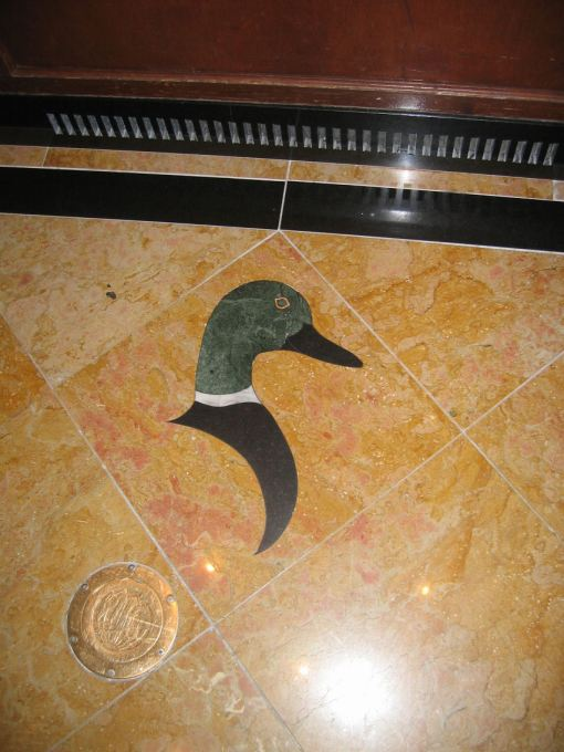 Duck motif in the tiles in the elevators