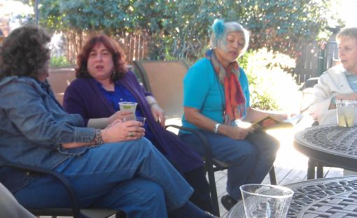 Kaye (student), Robbi Joy Eklow (one of the other tutors), Yolande (student), and Velda Newman