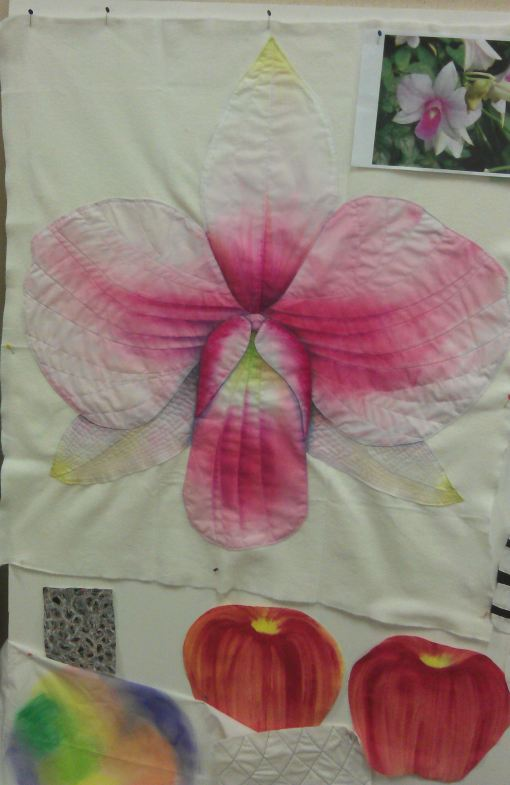 After adding stitching on  lesser petals in invisible thread