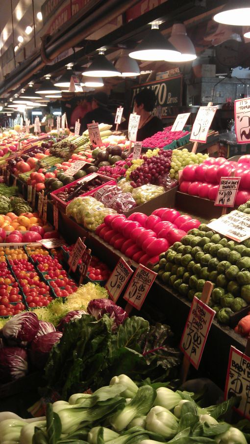 One of the fruit and vege stands at Pike Place Markets