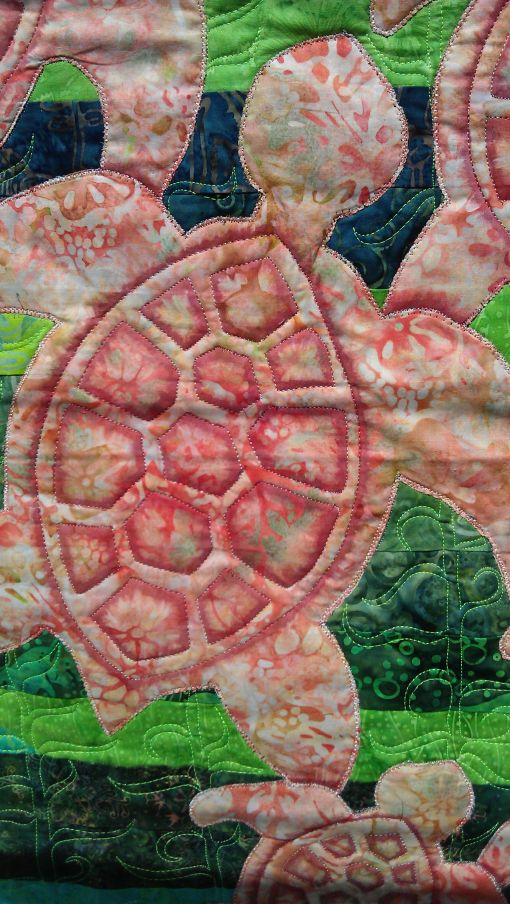 Turtle with Copic marker shading done, including shading on the overlap with other turtles.Kelp stitched too.