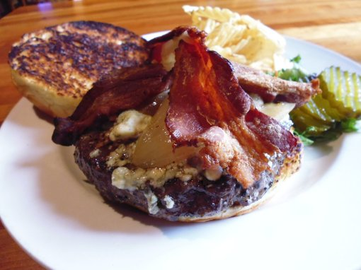 Blackened burger with crispy bacon and blue cheese, Garrison Bar and Grill, Lake George, New York state