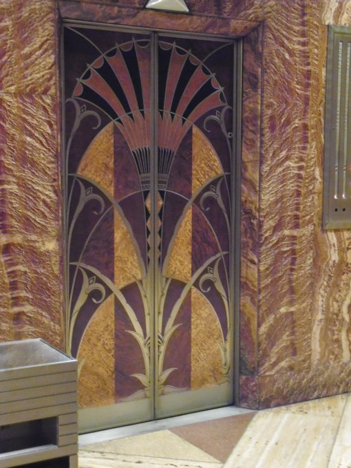 Wood inlay elevator doors at the Chrysler Building