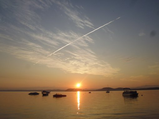 Sunrise over Lake Champlain, Vermont, 22 July 2017