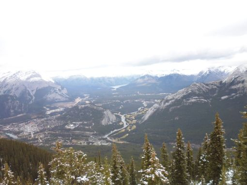 Banff, Bow River, and the surrounding mountains, from the top of Sulphur Mountain