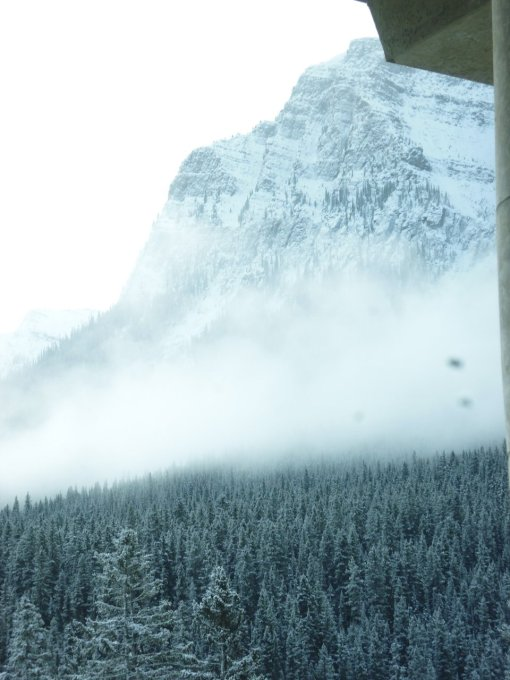 View out the window from the guest-only lounge, of snow drifting in. Lake Louise, Alberta, Canada, 4 November 2018