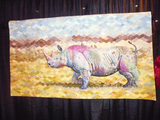 This is Sophie Standing and my friend Michelle's 2nd prize winning quilt in the Animal category -- 'Roaming free'