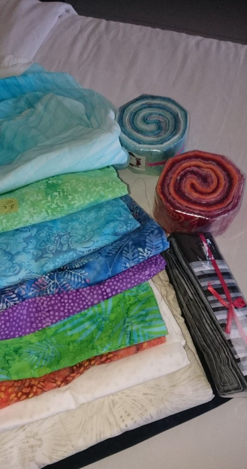 This was my haul of quilting batiks, probably about 20 or so metres of fabric, plus 3 jelly rolls